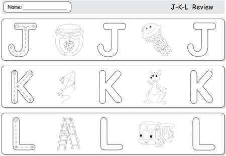 complete: Cartoon jellyfish, jam, kite, kangaroo, lorry and ladder. Alphabet tracing worksheet. J-K-L Review