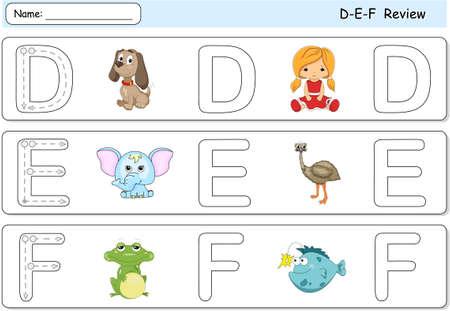 phonetic: Cartoon dog, doll, elephant, emu, frog and fish. Alphabet tracing worksheet. D-E-F Review