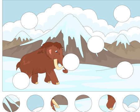 Cartoon mammoth on the background of a prehistoric nature. Complete the puzzle and find the missing parts of the picture.