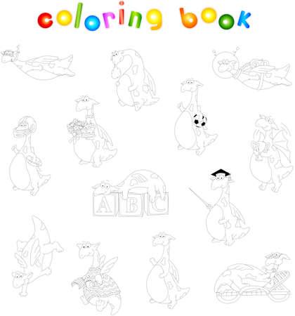 footballer: Cartoon green dragon coloring book for kids. Diver, astronaut, footballer, winner, scientist, dancer Illustration