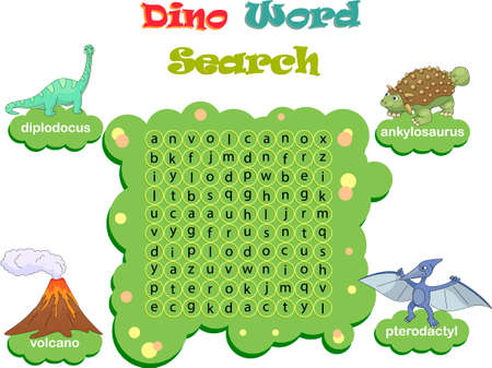 Logic game for learning English. Find the hidden dino words by vertical or horizontal lines