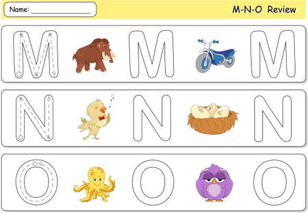 phonetic: Cartoon mammoth, motorcycle, nightingale, nest, octopus and owl. Alphabet tracing worksheet. M-N-O Review Illustration