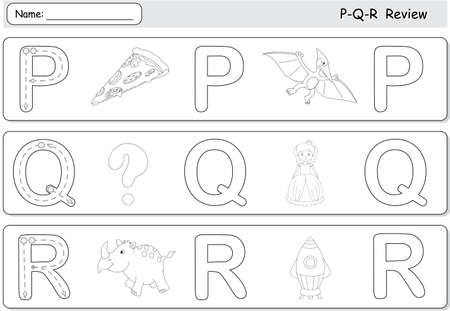 pterodactyl: Cartoon pizza, pterodactyl, queen, question, rhinoceros and rocket. Alphabet tracing worksheet. P-Q-R Review
