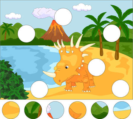 Funny cute styracosaurus the background of a prehistoric nature. Complete the puzzle and find the missing parts of the picture.