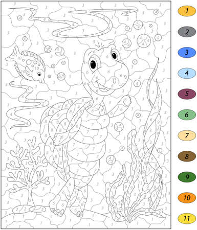 Cartoon turtle and fish in the ocean. Color by number educational game for kids. Illustration for schoolchild and preschool