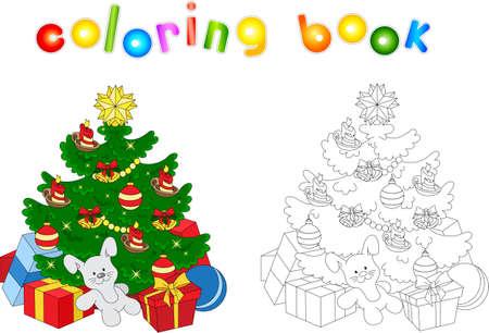 Rbol De Navidad. Libro De Colorear Para Niños Ilustraciones ...