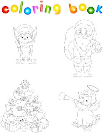 Duende De Navidad Y Santa. Libro De Colorear Para Niños ...