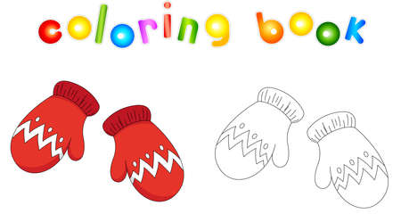 Christmas mittens. Coloring book for kids