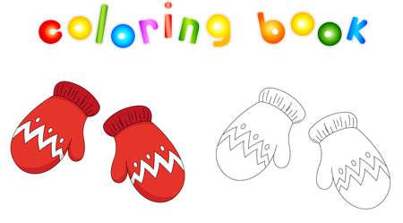 mitones de Navidad. Libro de colorear para niños Ilustración de vector