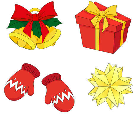 mittens: Colorful Christmas bells, mittens, gift and star Illustration