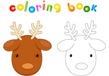 Christmas deer. Coloring book for kids