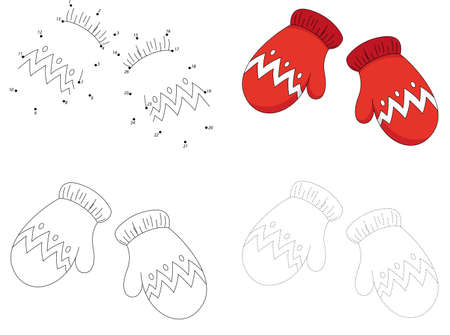 Christmas knitted woolen mittens. Dot to dot educational game for kids