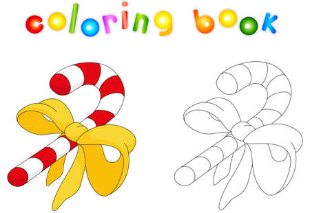 Christmas candy cane. Coloring book for kids