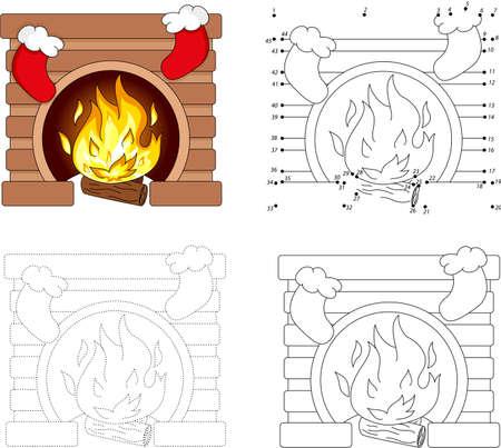 pondering: Christmas cartoon fireplace. Dot to dot educational game for kids Illustration