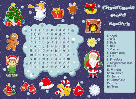 Logic game for learning English. Find the hidden Christmas words by vertical or horizontal lines