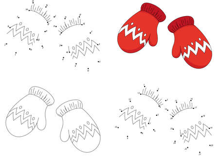 woolen: Christmas knitted woolen mittens. Coloring book and dot to dot educational game for kids Illustration
