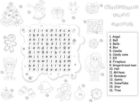 Find The Hidden Christmas Words By Vertical Or Horizontal Lines