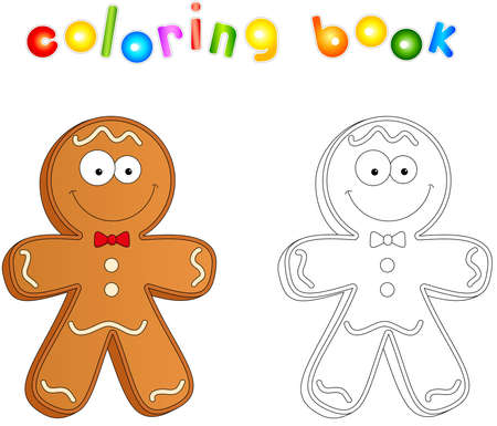 christmas gingerbread man coloring book for kids stock vector 69063435