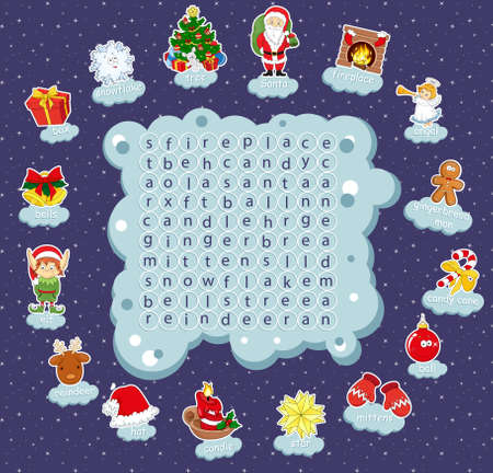 learning new skills: Logic game for learning English. Find the hidden Christmas words by vertical or horizontal lines