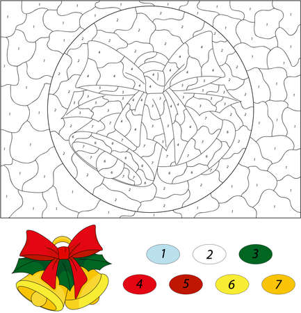 Christmas bells. Color by number educational game for kids. Illustration for schoolchild and preschool