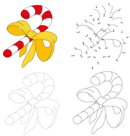 Christmas cartoon candy cane. Dot to dot educational game for kids