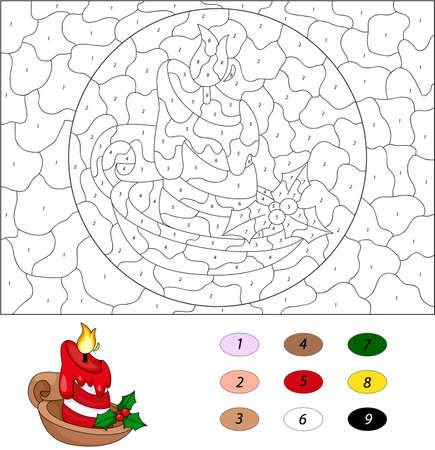 coloration: Cartoon christmas candle. Color by number educational game for kids. Illustration for schoolchild and preschool