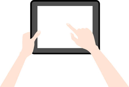 tabletpc: Human hands holding a tablet touch computer gadget isolated on white