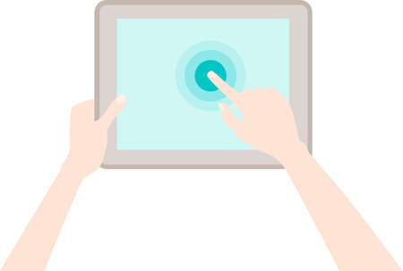 human touch: Human hands holding a tablet touch computer gadget isolated on white