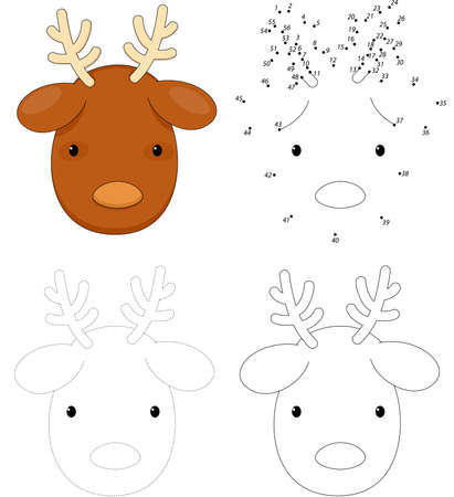 Christmas cartoon reindeer. Dot to dot educational game for kids  イラスト・ベクター素材