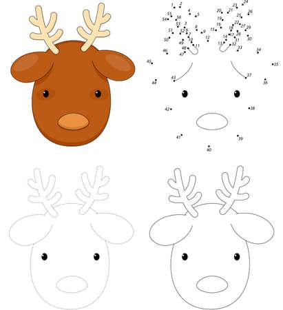 Christmas cartoon reindeer. Dot to dot educational game for kids Illustration