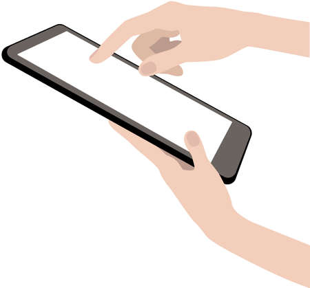 Human hands holding a tablet or a phone with empty screen