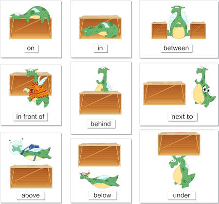 Cartoon dragon and box. English grammar in pictures for students, pupils and preschoolers