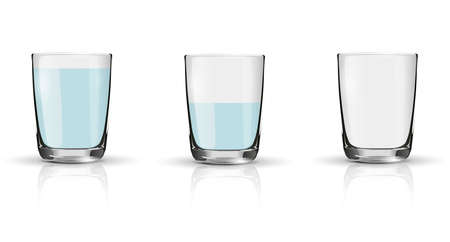 Glass of sparkling water, half full glass and empty glass. Illustration isolated on white Иллюстрация