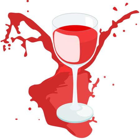 Wine glass with splashing wine isolated on white