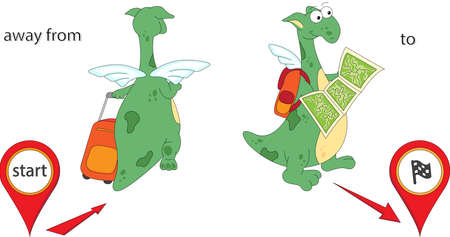 Cartoon dragon goes away from the start and then to the finish. English grammar in pictures. Prepositions of Movement