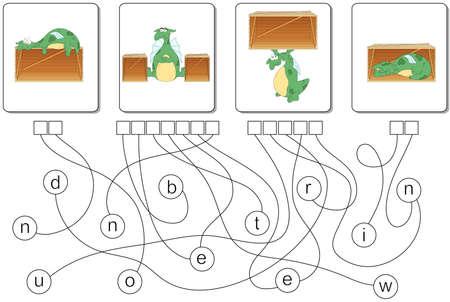 Educational Puzzle-Spiel mit Drachen für Kinder. Finde die versteckten Präpositionen in, auf, unter, zwischen