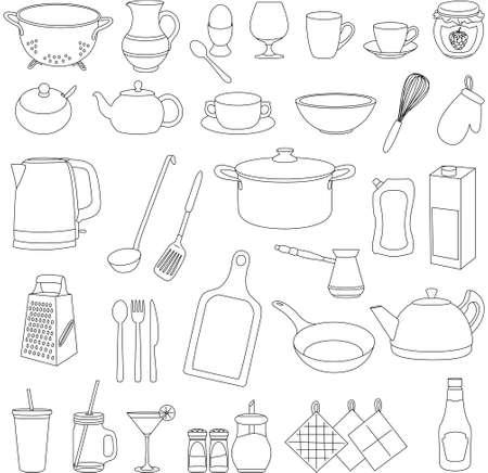 만화 식기의 집합입니다. 냄비, 냄비, 접시, 주전자, 컵, 유리, 포크, 스푼, 칼, 강판, 설탕 그릇, 후추, 소금