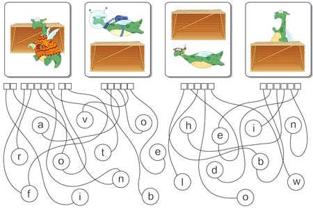Educational jeu de puzzle avec le dragon pour les enfants. Trouver les prépositions cachés devant, au-dessus, au-dessous, derrière