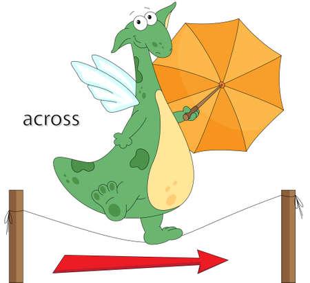 Cartoon draak gaat over de het touw met een paraplu in zijn handen. Engels grammatica in foto's. Voorzetsels van beweging