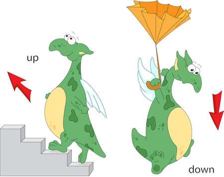 Dragón de dibujos animados sube las escaleras y vuela hacia abajo con un paraguas. la gramática Inglés en imágenes. Preposiciones de movimiento Ilustración de vector