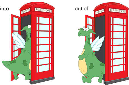 Cartoon dragon goes into and out of telephone box. English grammar in pictures. Prepositions of Movement Illustration