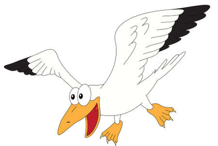 Cartoon gull for babies and little kids. Picture isolated on white background
