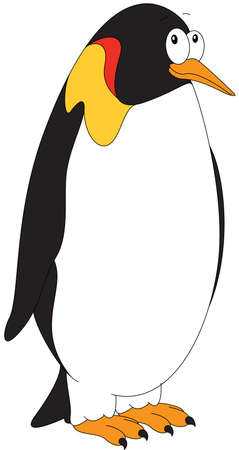 antarctica: Cartoon Imperial penguin for babies and little kids. Picture isolated on white background