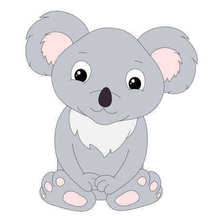 Cute cartoon koala isolated on white background