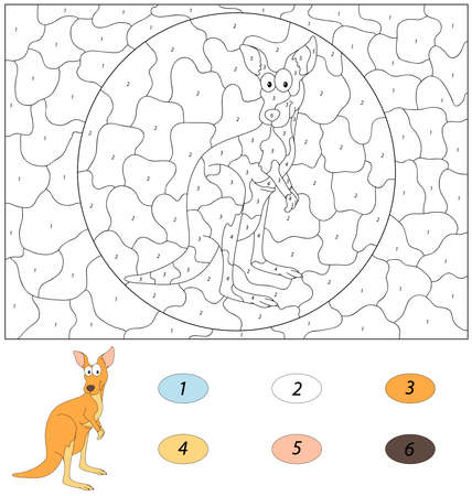 Color by number educational game for kids with kangaroo.
