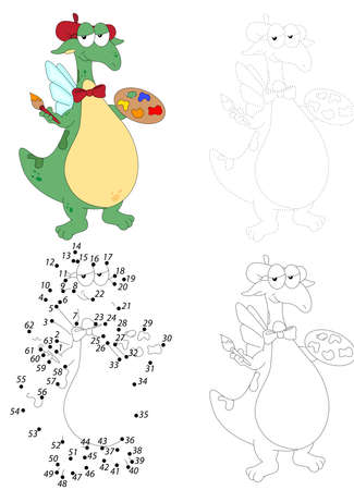 Cartoon green dragon holding a brush and a palette with paints dot to dot educational game for kids