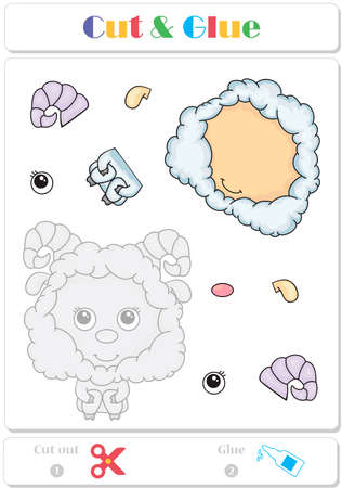 Easy educational paper game for kids with funny cute lamb Illustration