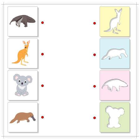 Set of cartoon anteater, kangaroo, koala and platypus. Educational game for kids. Choose the correct silhouettes on the opposite side and connect the points 일러스트