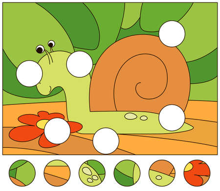 Cartoon snail crawling on the ground. Complete the puzzle and find the missing parts of the picture. Educational game for kids