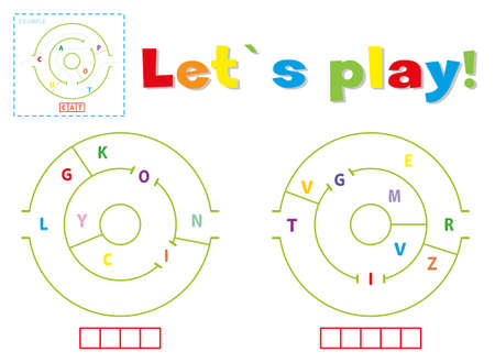 Play and write the words lion and tiger. Find a way out of the maze and make words out of letters Ilustração